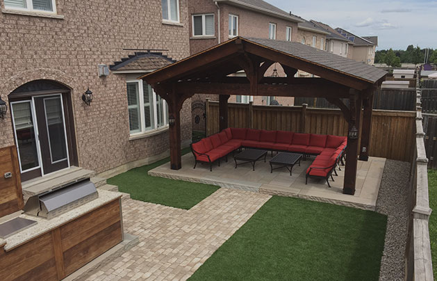 interlock patio and fireplace