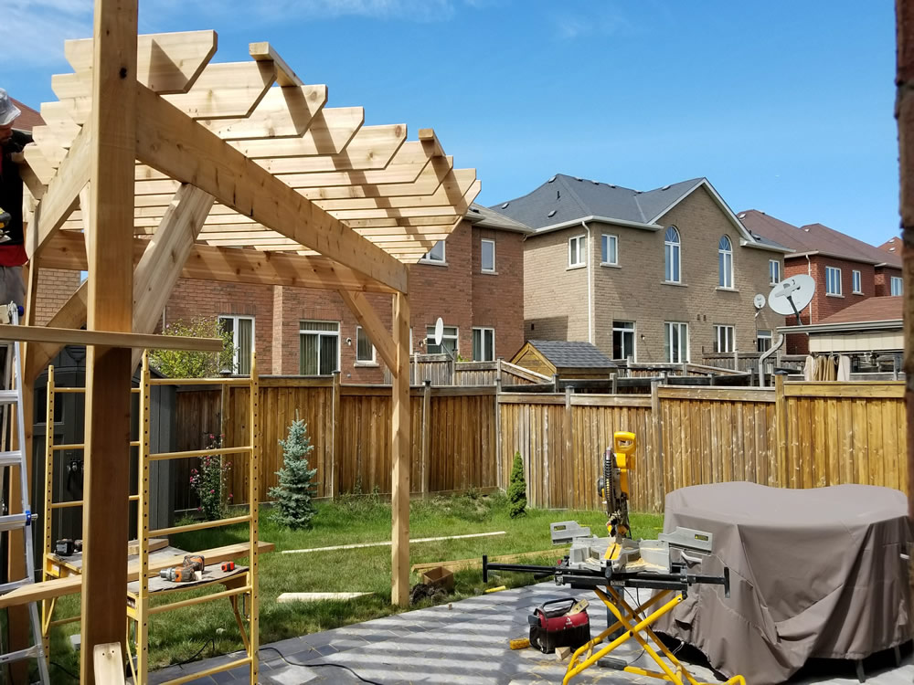Upper Canada Court pergola construction