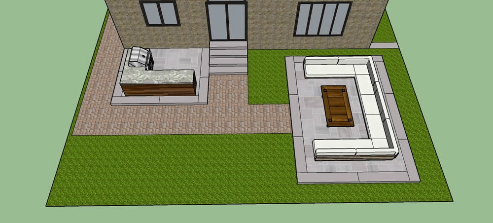 Dimarino Drive Patio, outdoor kitchen 3 D plans