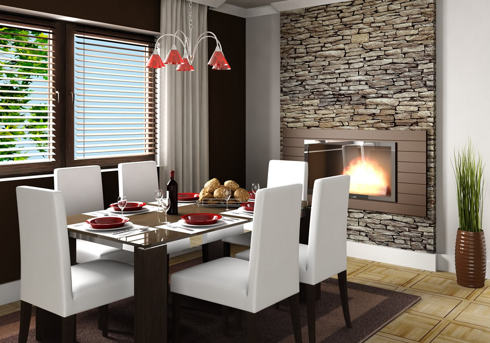 Beautiful Fireplace in an elegant dining room