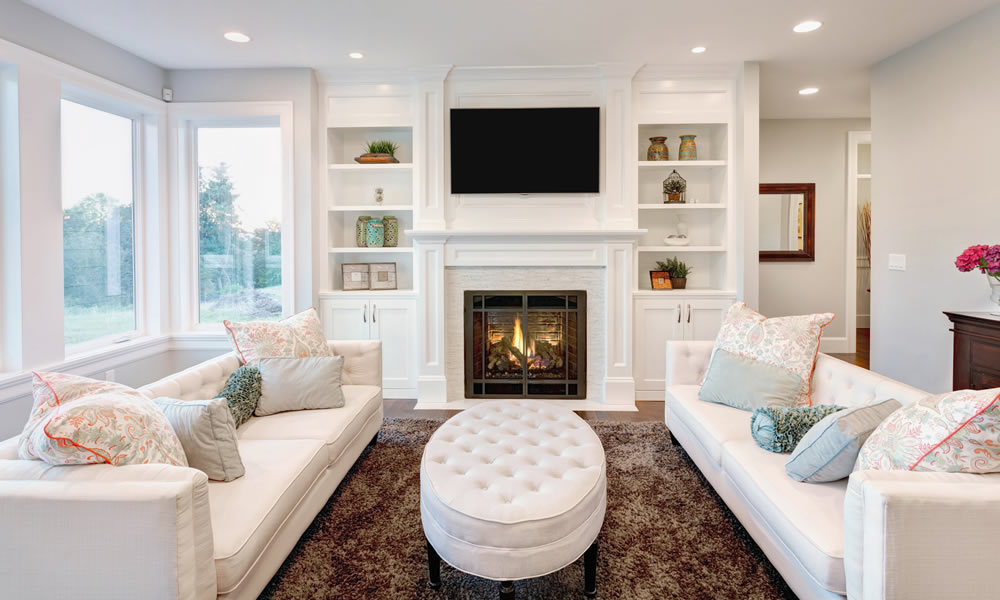Stunning fireplace in an elegant livingroom