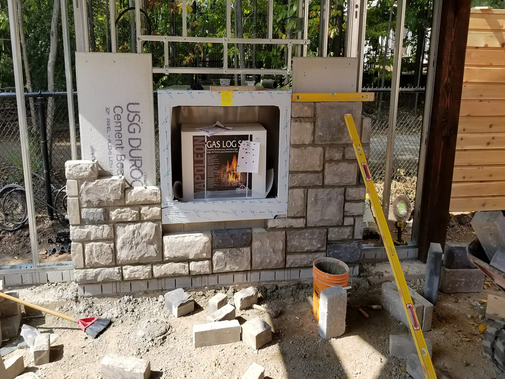 Forestview Trail Patio Construction and FIreplace Stone Surround