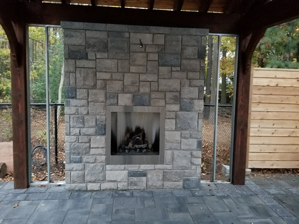 Forestview Trail Patio, Stone fireplace, Feature wall and Pergola