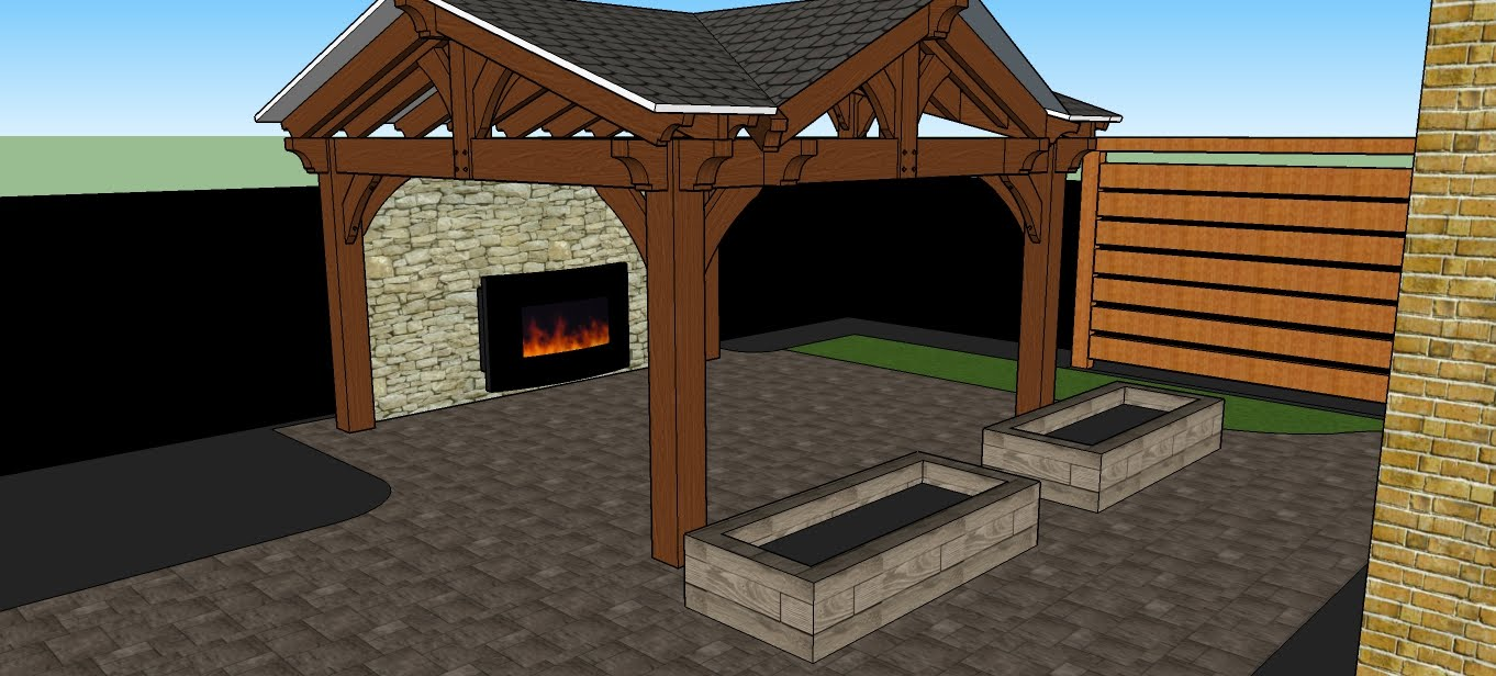 Forestview Trail Patio, Stone fireplace, Feature wall and Pergola 3 D design
