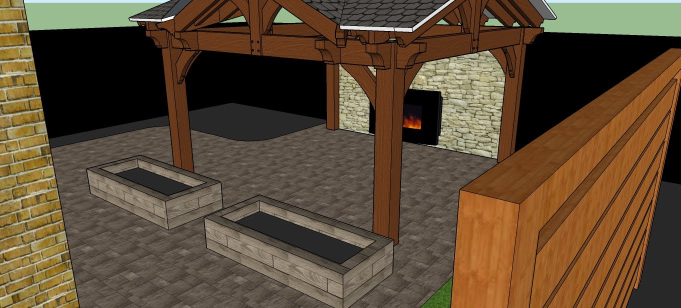 Forestview Trail Patio, Stone fireplace, Feature wall and Pergola 3D design