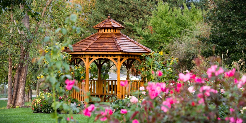Gazebo in yard surrounded by flowers