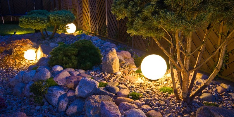 Outdoor lights at night in plants