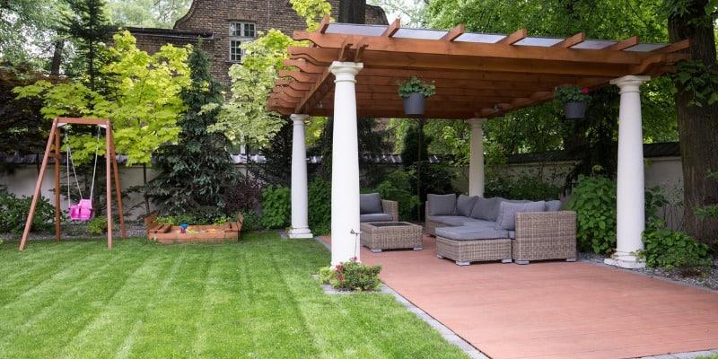 modern gazebo in backyard